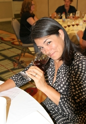 One of the reds brings a smile to the face of Tami Wong, CS, of the 3rd Corner Wine Bistros in Southern California.